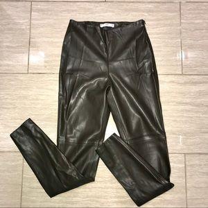 Dark Olive Green Faux Leather Mango Pants Size 2